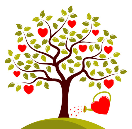 heart tree and heart watering can isolated on white background