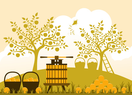 fruit press and baskets of apples in apple orchard Vector