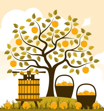 vector apple tree, baskets of apples and fruit press
