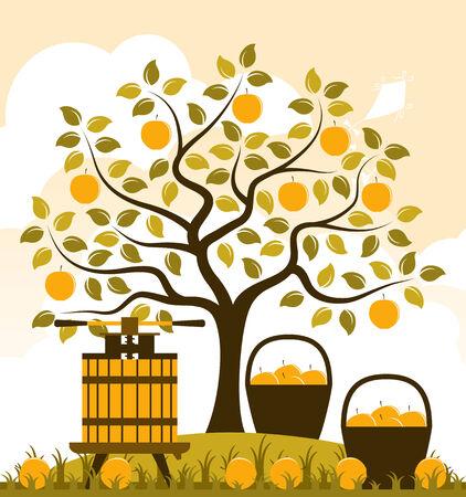 vector appelboom, manden met appels en fruitpers Stock Illustratie