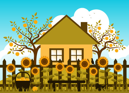 vector apple trees, cottage and picket fence with sunflowers Stock Illustratie