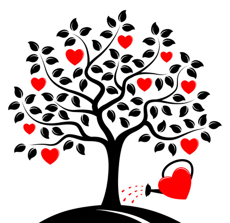 heart tree and heart watering can isolated on white background Vector