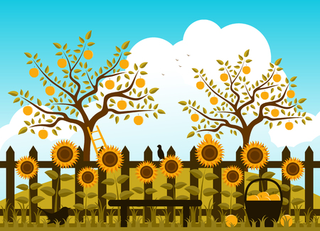 vector picket fence with sunflowers and apple orchard Vector