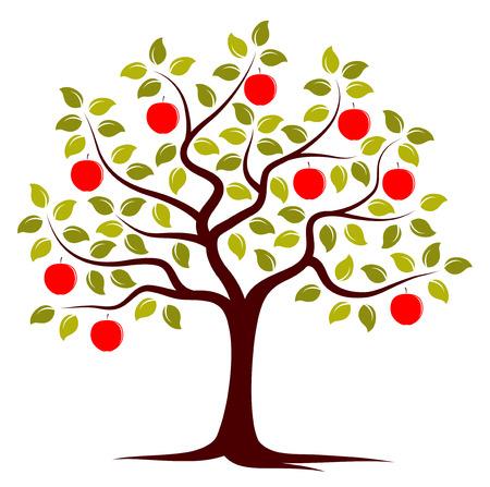 vector appelboom geïsoleerd op witte achtergrond