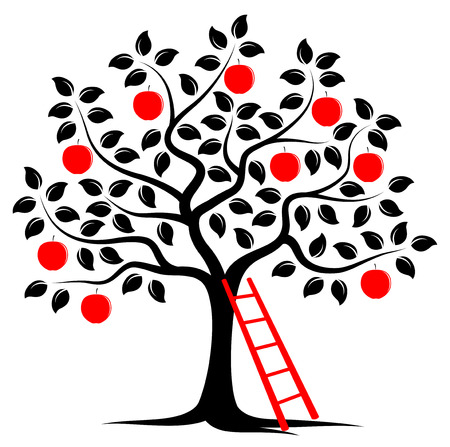 vector apple tree and ladder isolated on white background Çizim