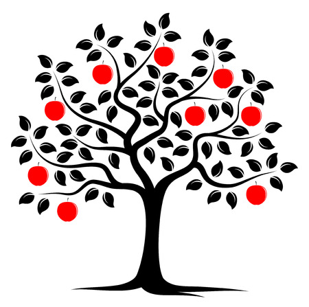 vector apple tree isolated on white background Banco de Imagens - 32406309