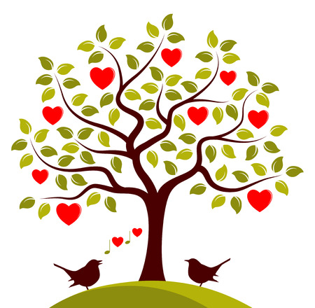 heart tree and love birds isolated on white background Vector