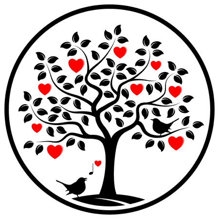 vector heart tree and love birds in round isolated on white background Vettoriali