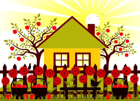 vector apple trees, cottage and picket fence with flowers and baskets of apples Vector