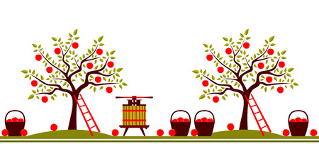 vector seamless border with apple trees, fruit press and baskets of apples isolated on white background