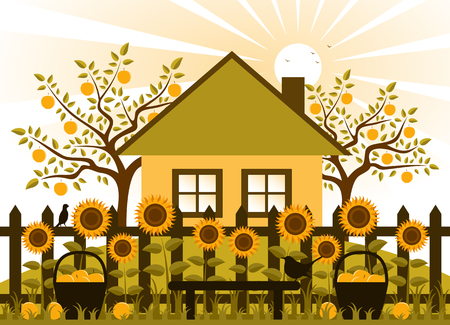 vector apple trees, cottage and picket fence with sunflowers and baskets of apples Vector