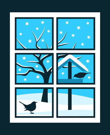 vector snowy bird table with birds and tree outside the window