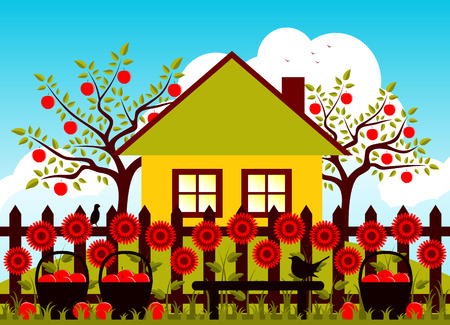 picket: vector apple trees, cottage and picket fence with flowers and baskets of apples