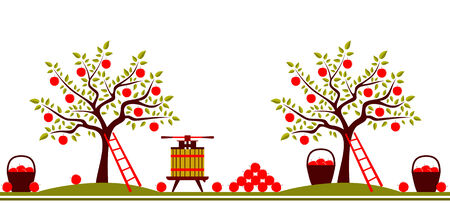 apple border: vector seamless border with apple trees, fruit press and baskets of apples isolated on white background