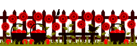 picket: vector picket fence with flowers and baskets of apples Illustration
