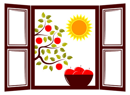 vector bowl of apples in the window and apple tree outside the window Vector