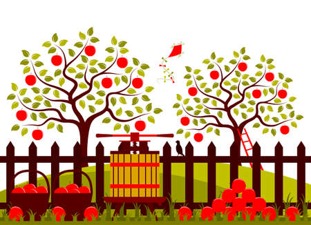 picket: vector apple trees and picket fence with fruit press and baskets of apples Illustration