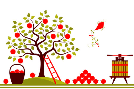 apple border: vector seamless border with apple tree, fruit press and basket of apples isolated on white background