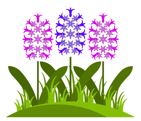 clump: vector clump of hyacinths isolated on white background Illustration
