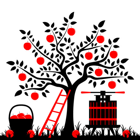 vector apple tree, basket of apples and fruit press Vector