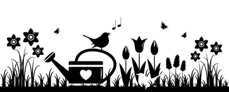 spring bed: vector spring flowers, watering can and birds isolated on white background Illustration