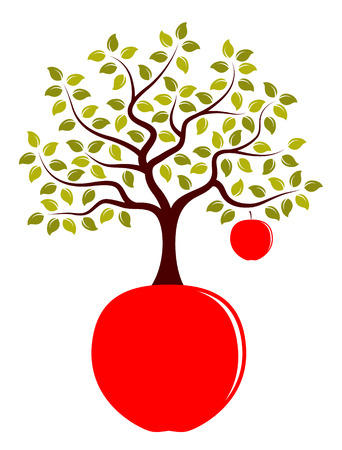 big apple: apple tree with one big apple growing from apple isolated on white background Illustration