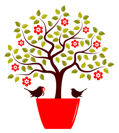 vector flowering tree in pot and couple of birds isolated on white background Vector