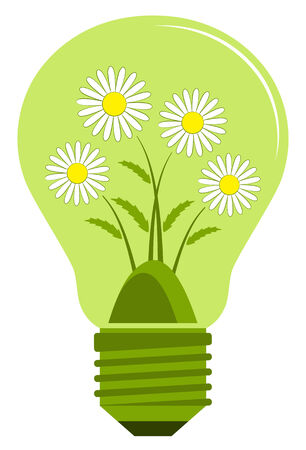 clump: vector clump of daisies in light bulb isolated on white background