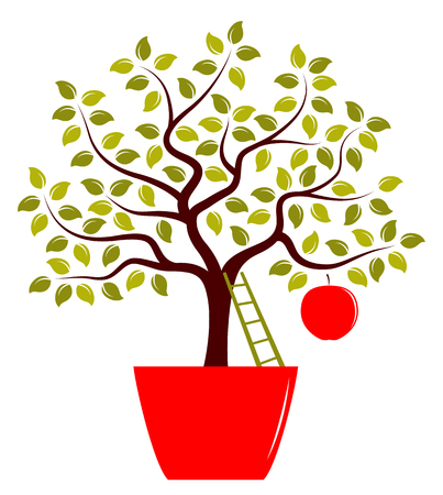 big apple: vector apple tree with one big apple in pot isolated on white background