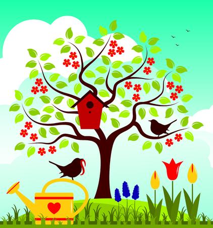 vector nesting bird box and couple of birds in spring garden Illustration