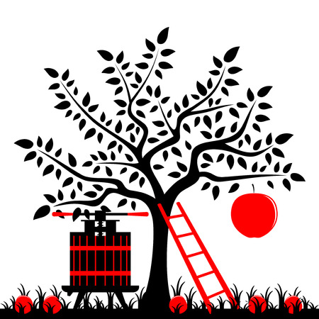 vector apple tree with one big apple, ladder and fruit press