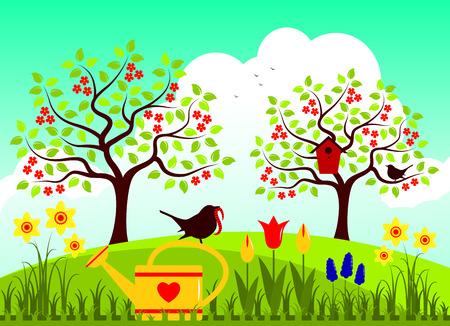 nesting bird box and couple of birds in spring garden Illustration