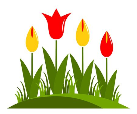 clump: vector clump of tulips isolated on white background