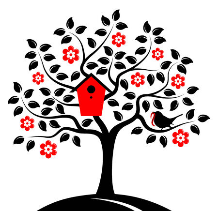 bringing: vector flowering tree with nesting bird box and bird bringing worm isolated on white background Illustration