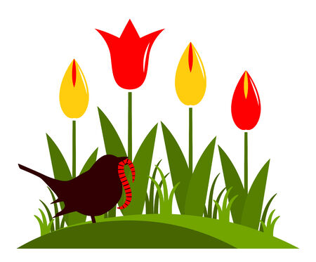 clump: vector clump of tulips and bird with worm isolated on white background