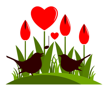 tuft: vector clump of heart flowers and love birds isolated on white background