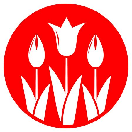 clump: vector clump of tulips isolated on red round