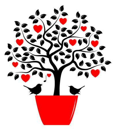 love notes: vector heart tree in pot and love birds isolated on white background Illustration