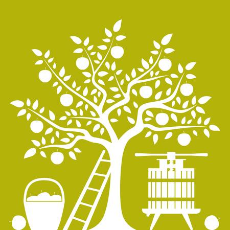 vector appelboom, mand van appelen en fruit druk geïsoleerd op groene achtergrond Stock Illustratie