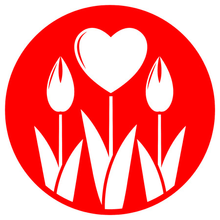 clump: vector clump of heart flowers isolated on red round