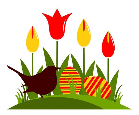 clump: vector clump of tulips, easter eggs and bird isolated on white background