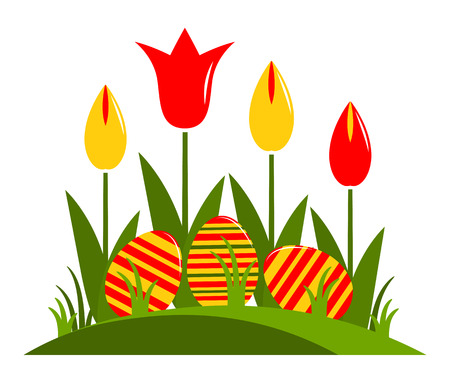 clump: vector clump of tulips and easter eggs isolated on white background
