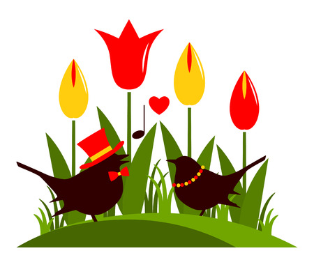 clump: vector clump of tulips and love birds isolated on white background Illustration