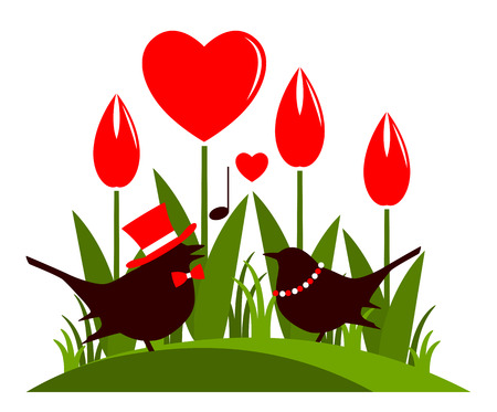 clump: vector clump of heart flowers and love birds isolated on white background