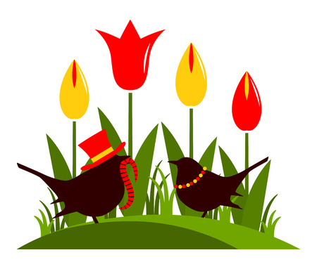 clump: vector clump of tulips and couple of birds isolated on white background