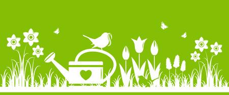 borde de flores: flores de primavera de vectores, regadera y madre p�jaro que trae gusano aislados sobre fondo verde