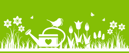 flower bed: vector spring flowers, watering can and mother bird bringing worm isolated on green background Illustration