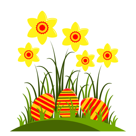 clump: vector clump of daffodils and easter eggs isolated on white background Illustration