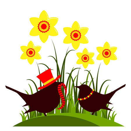 clump: clump of daffodils and couple of birds isolated on white background Illustration