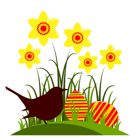 clump: vector clump of daffodils, easter eggs and bird isolated on white background